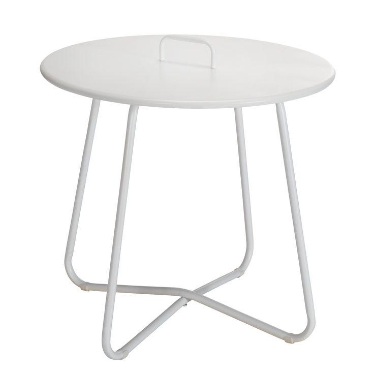 Bijzettafel Murcia met handvat, handig voor het verplaatsen van de tafel. Hoogte: 50 cm. Kleur: wit. #tuin #tuintafel #bijzettafel #KwantumLente