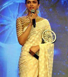 Buy Deepika Padukone Cream Fancy Designer saree with blouse deepika-padukone-saree online
