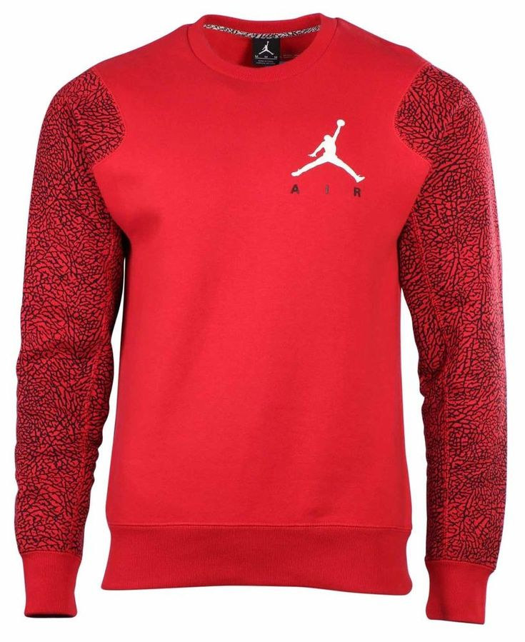 Air Jordan Elephant Fleece Crew Neck Sweatshirt Gym Red 634489-695 Sz Large $70 #Jordan #SweatshirtCrew