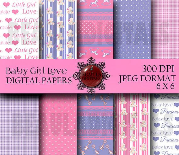 10 Baby Girl Love  Papers for Scrapbooking PU & by Beauladigitals