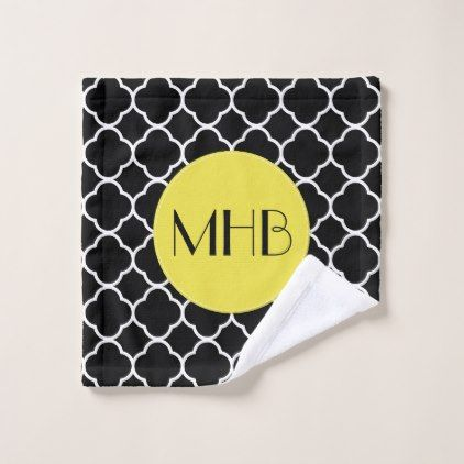 Monogram - Quatrefoil Tiles - Black White Yellow Bath Towel Set - monogram gifts unique custom diy personalize