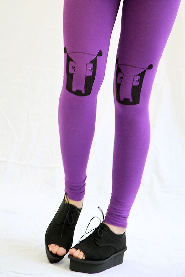 Hand screen printed purple leggings by KIKERIGU