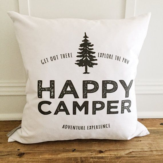 Happy Camper w/Tree Pillow Cover $29