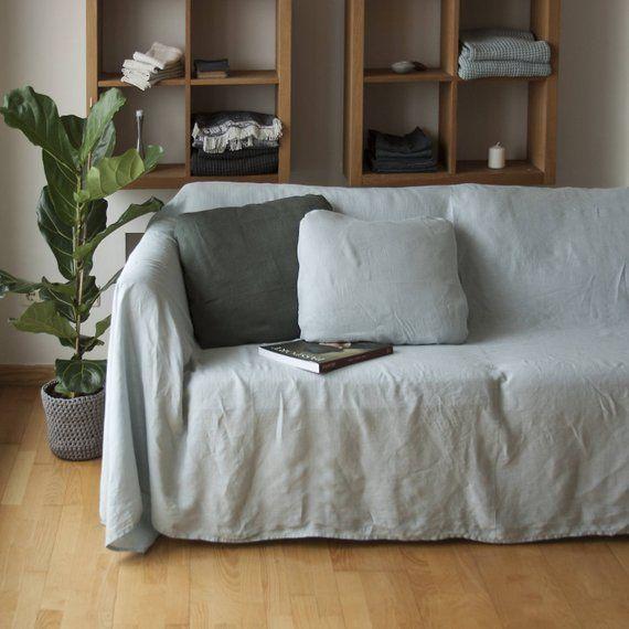Linen Couch Cover, Linen Bedspread, Natural Sofa Cover, Linen Couch Throw, Large Linen Coverlet, Sofa Slipcover, Linen Bed Cover | Linen Couch, Couch Covers, Linen Bedspread