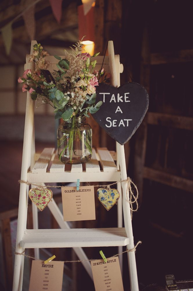 Beautiful Ladder Table Plan,June Wedding, Summer Wedding, Great Barn, Rolvenden, Kent, Teokath Dress, Rebecca Douglas Photography