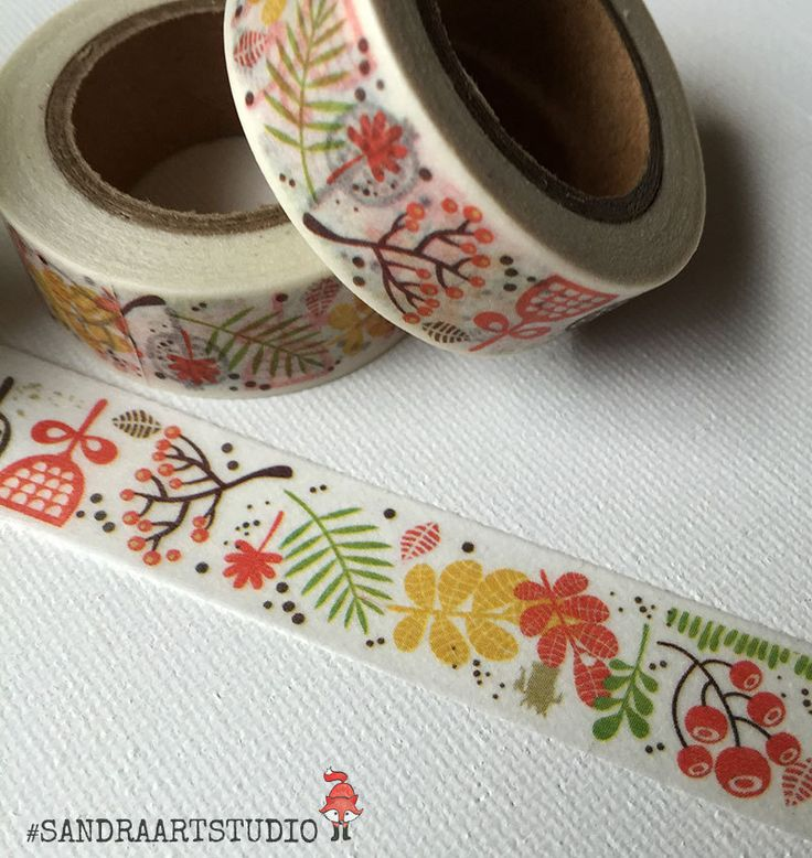 New to SandraArtStudio on Etsy: Washi tape with autumn leaves and flowers autumn washi printed paper tape embellishment craft tape (2.50 EUR)