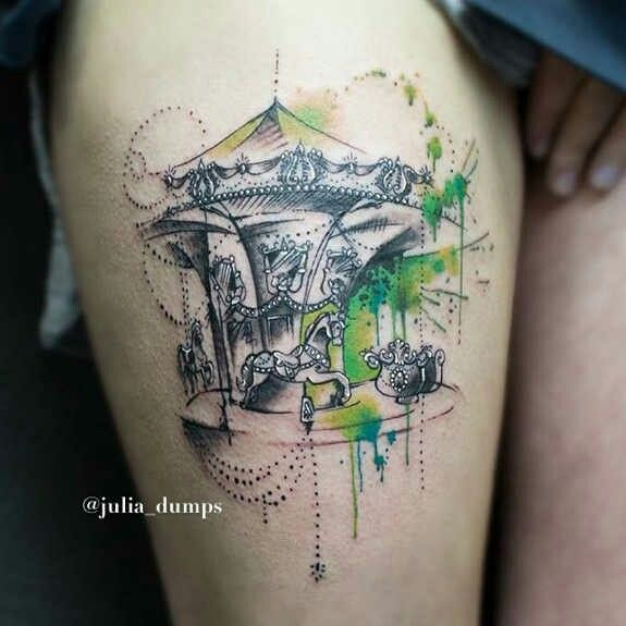 Carousel Watercolor Tattoo by Julia Dumps~
