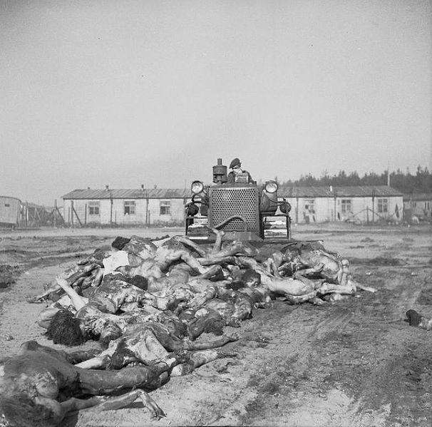 The Liberation of Belsen Concentration Camp April 1945: A British Army bulldozer pushes bodies into a mass grave at Belsen. - 19 April 1945