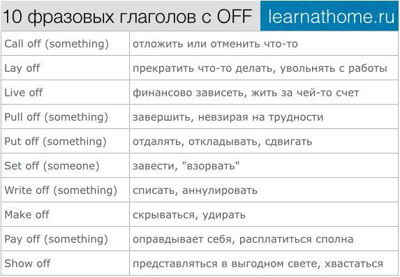 10 фразовых глаголов с OFF