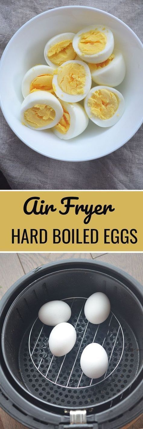 Air Fryer Hard Boiled Eggs - perfectly cooked eggs in the air fryer! On a wire rack, cook eggs @ 250 for 16 minutes. Put in ice water bath when done.