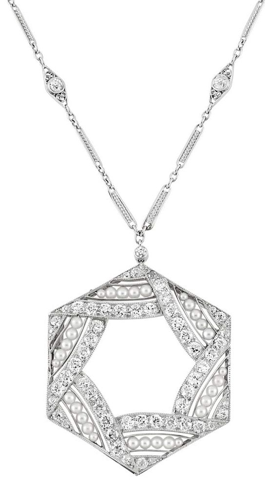 Art Deco Platinum, Seed Pearl and Diamond Pendant with Platinum and Diamond Chain Necklace. Circa 1920.