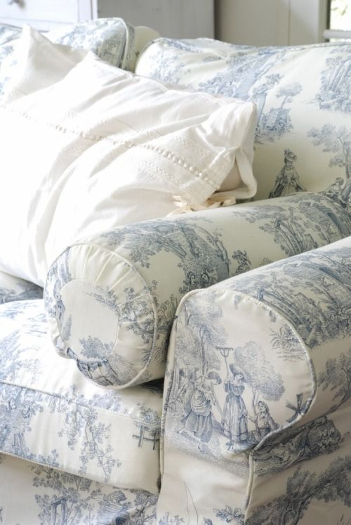 I love toile on an anchor piece in a room or as small accent pieces...  Actually, I just love toile wherever I can put it! :D