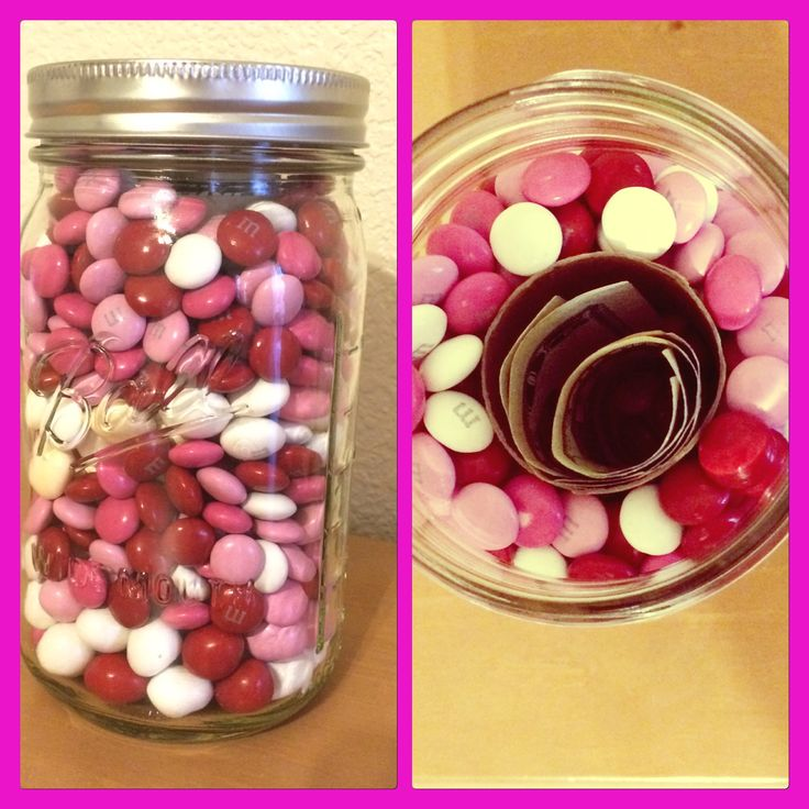 Mason jar filled with M&M's. Hidden inside is a toiletpaper roll with $$$$. ❤️ Valentines for teenagers. Katie & Joey 2016.