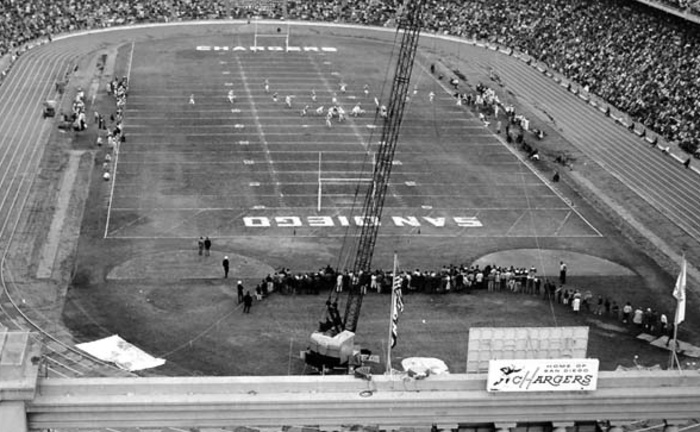 vintage san diego. - In 1961 the American Football League Chargers open their first season at Balboa Stadium