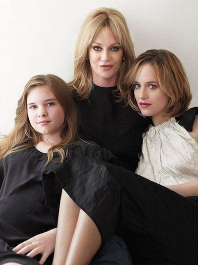 Melanie Griffith & Dakota Johnson with Griffith's daughter with Antonio Banderas, Stella (at left).