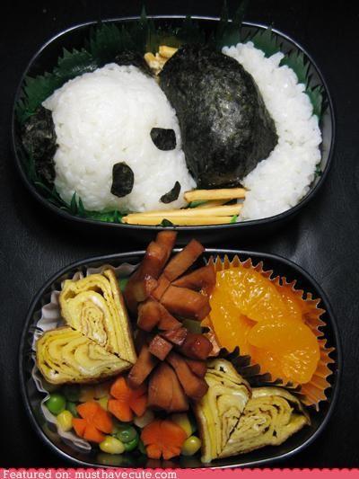 panda bento #food #bento #panda  hope to one day be skilled enough to make this for my kids:]
