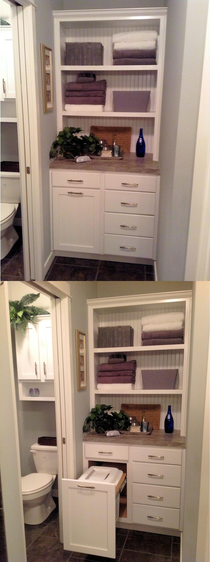 Custom Spa Cabinet Tower With Pull Out Hamper To Replace Closet In Bathroom Liked On
