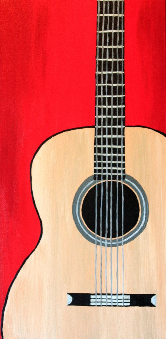 12 X 24 Original Acoustic Guitar Painting Colorful Red Background Wood On Museum Quality Gallery Wrapped Canvas In 2018