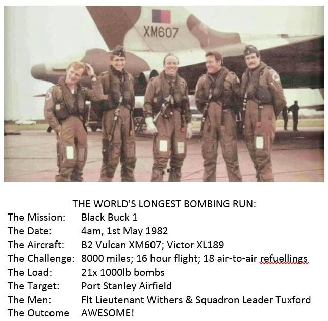 Awesome Vulcan and Black Buck bombing mission summary