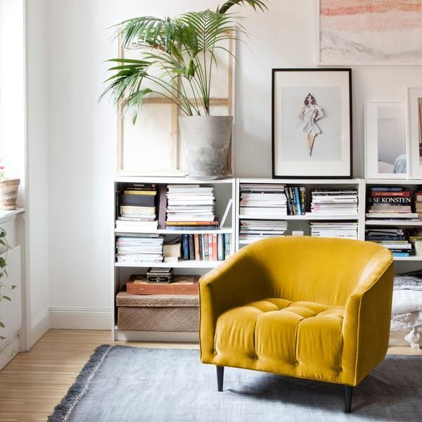 Yellow velvet arm chair
