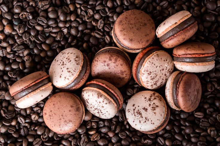Macarons with milk Valrhona chocolate ganache and coffee.