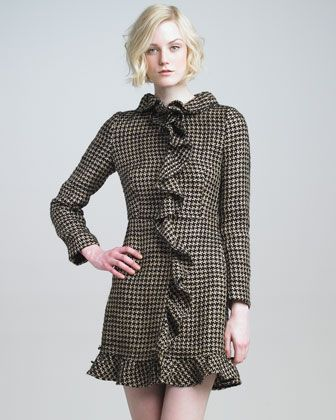 Ruffled Houndstooth Coat by RED Valentino