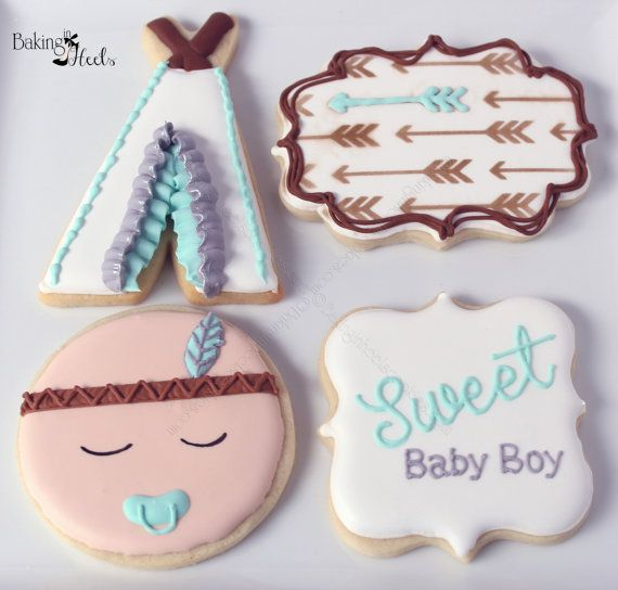 Listing is for one dozen (12) Boho Baby Boy Shower Cookies    Ruffle on Tee Pee is hand painted with silver luster dust. DATE NEEDED: Please leave