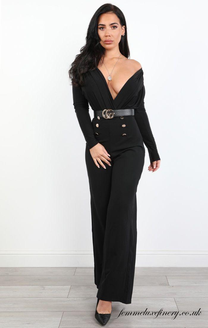 BLACK SLIM FIT PLUNGE BODYSUIT - MAISY - femmeluxefinery  #black #fitplunge #bodysuit #suit #cheap #clothing #uk #femmeluxe #femmeluxefinery #women #dress