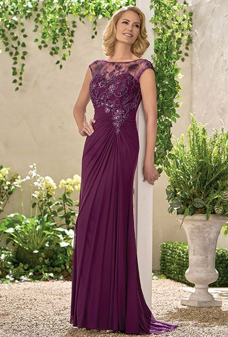 Jade by Jasmine. Caroline Sequin Lace/Stretch Illusion with Stretch lining dress with a boat neckline and gathered skirt - all in the color bordeaux. Plus size available.