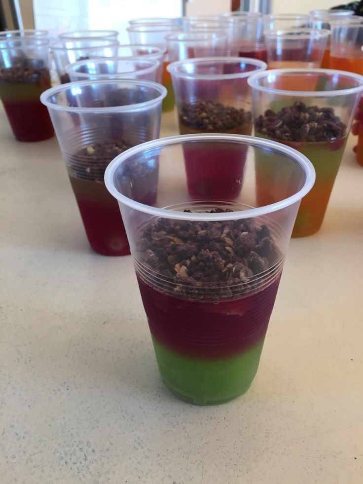 Dino dig jelly- bottom layer has grapes(Dino eggs) then ...