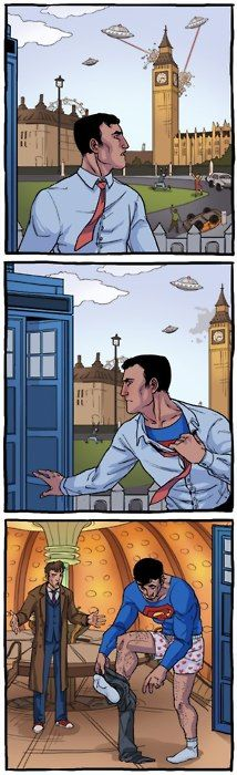 Well this is kind of awkward. How did Superman even get in the Tardis?: Superman, The Doctors, The Tardis, Comic, Funny Pictures, Doctorwho, Doctors Who, Clarks Kent, Dr. Who