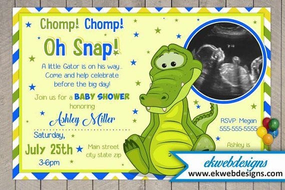 Alligator Baby Shower Invitation  Printable file  It's a