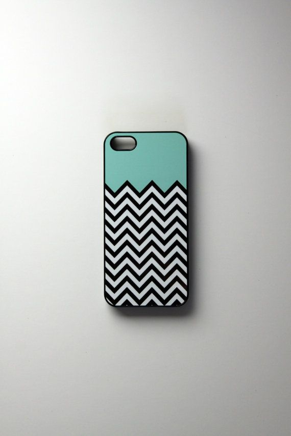 iPhone 5 Case Teal Chevron- plastic or rubber