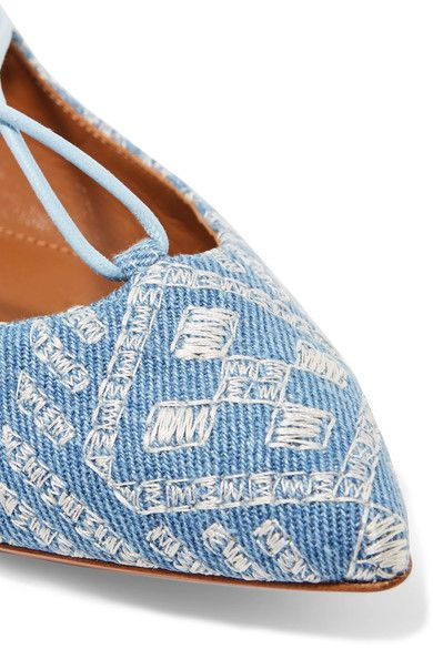 Aquazzura - Christy Embroidered Denim Point-toe Flats - Light denim - IT35