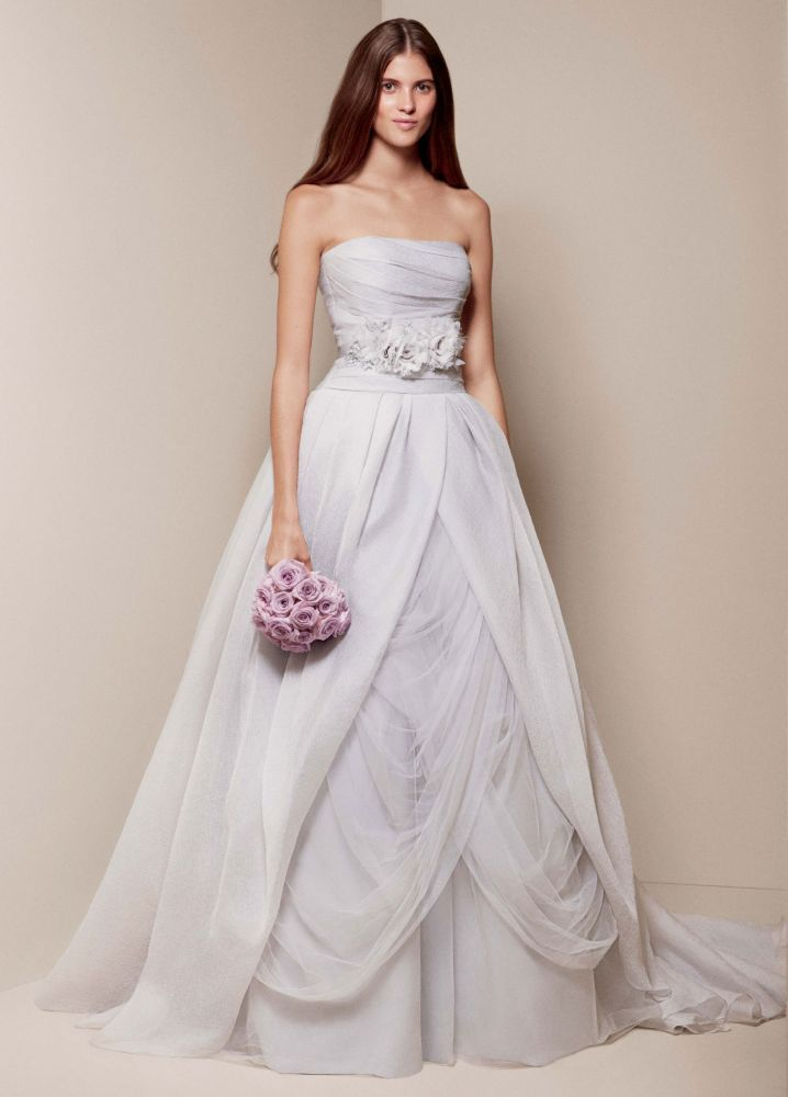 White by vera wang textured organza wedding dress for Best vera wang wedding dresses
