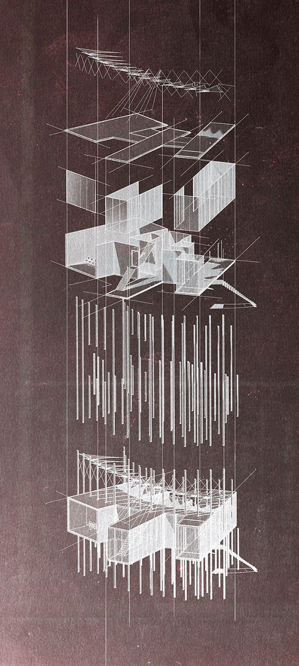 Exploded axonometric for a Visitors' Center in P.Faliron, Athens // Anastasia Gkoliomyti and Emmanouel Symiakakis