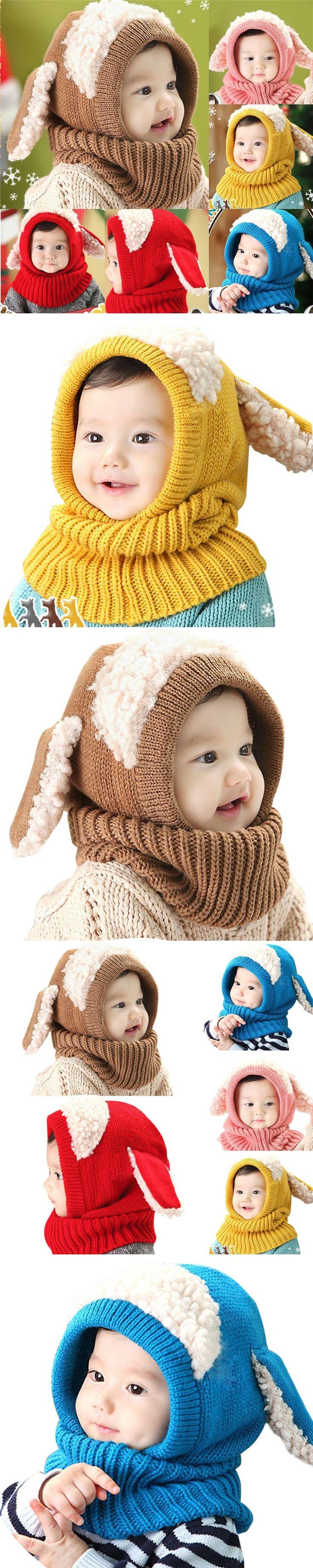 Winter Baby Hat 2017 Hats For Girls Kids Children Rabbit Long Ear Cap Soft Crochet Baby Caps Hooded Hat Scarf Set Bonnet