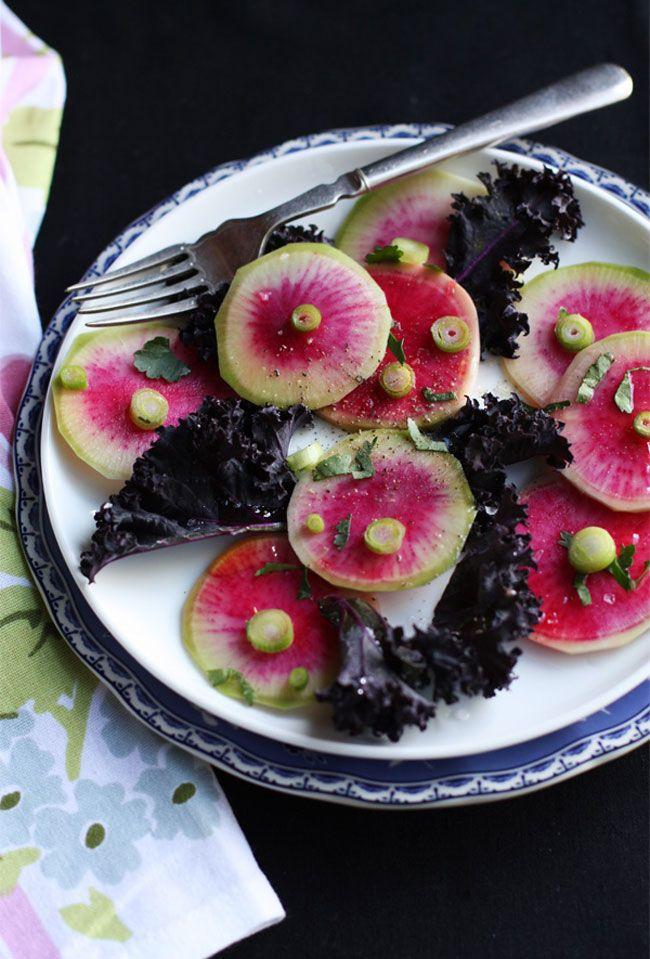 rainbow radish & purple kale: Purple Kale, Watermelon Radish, Kale Salads, Purple Food, Food Yummy, Rainbows Radish, Food Recipe, Healthy Desserts, Kale Healthy