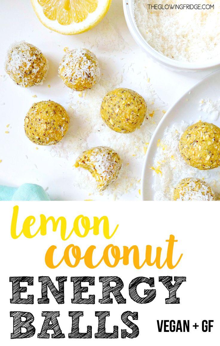 Lemon Coconut Energy Balls. VEGAN & GLUTEN FREE. Packed with superfoods like chia, hemp, maca and…