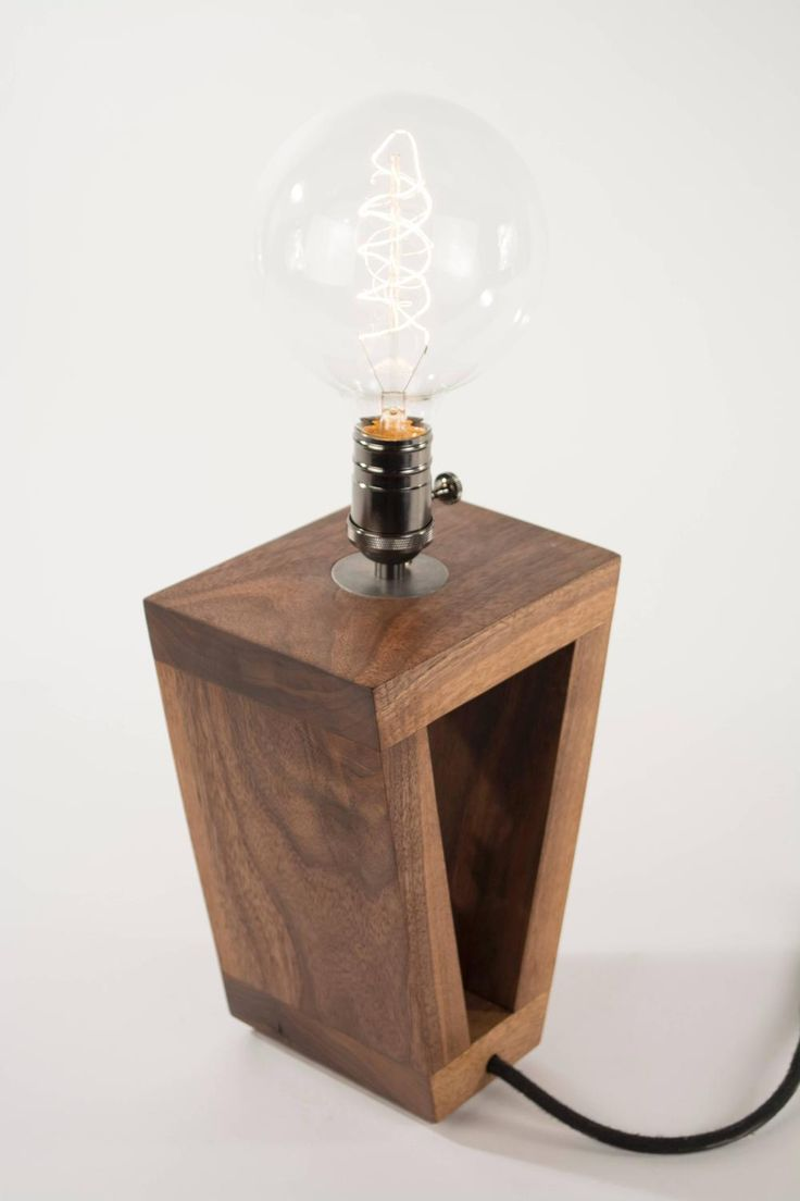 Antique wooden table lamps - 3 Table Lamp Walnut And Antique Drill Bit Handmade To Order