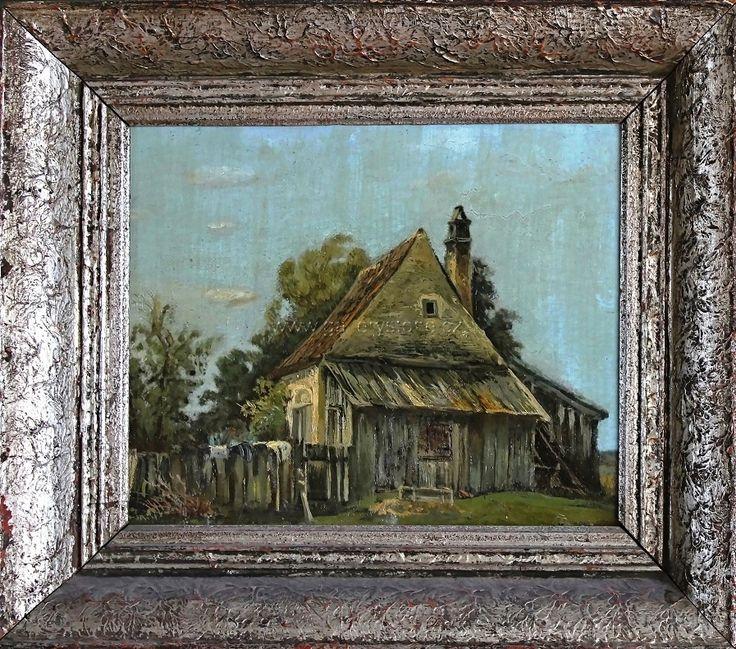 Minařík Jan Bohumil ( 1862 - 1937 ) - Na chalupě - olej,plátno,adjustováno na papíře - 41x36