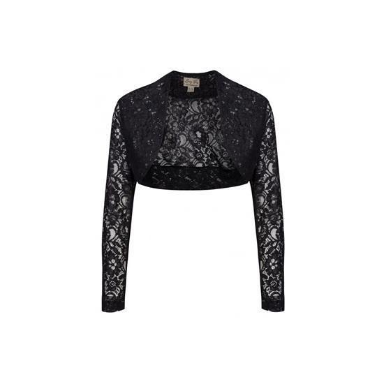 Dámské bolero Lindy Bop Black Lace lehké krajkové bolerko jako doplněk k šatům pro chladnější rána či večery nebo pro dámy, co si chtějí zakrýt ramena či paže, krásné