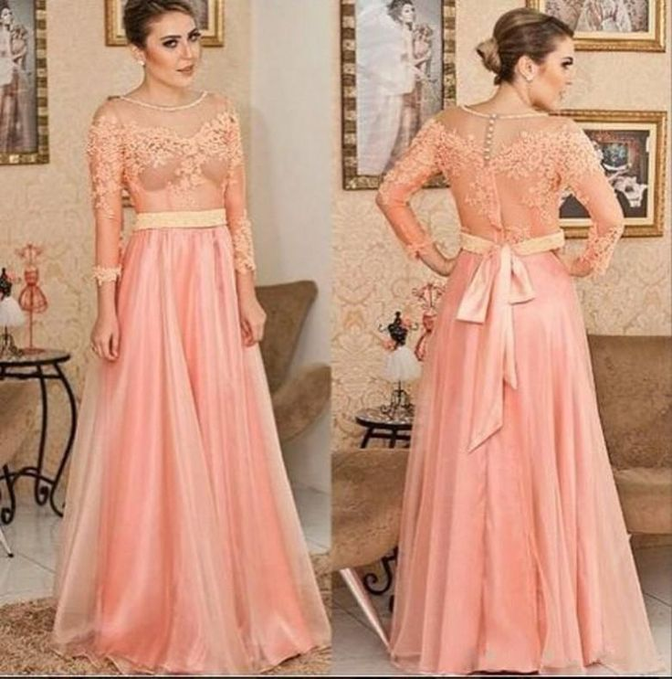 Free shipping, $125.66/Piece:buy wholesale  2015 Elegant Long Evening Dresses A-Line Sheer Crew Applique Lace Party Gowns Long Sleeve with Sash Bow Chiffon Formal Dress Plus Size of 2015 Spring Summer,Reference Images,Chiffon,Sexy,Crew from DHgate.com, get worldwide delivery and buyer protection service.