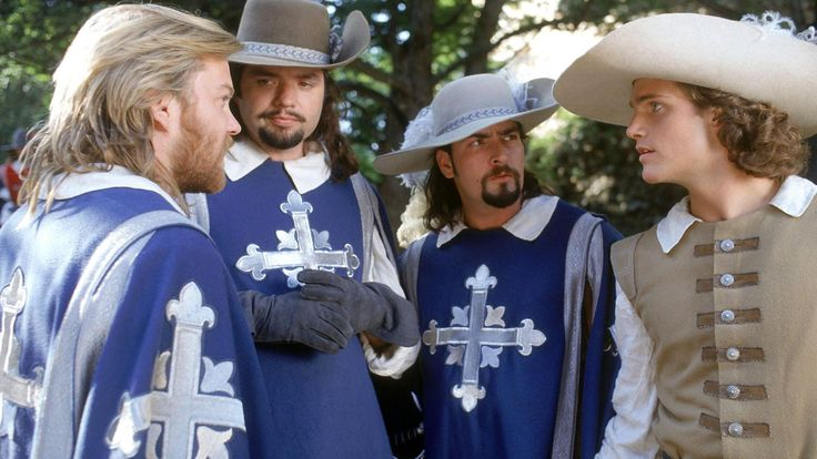 Athos, Porthos, Aramis and D'artagnan.  The Three Musketeers- 1993...I was obsessed with this movie asa kid... And an adult.