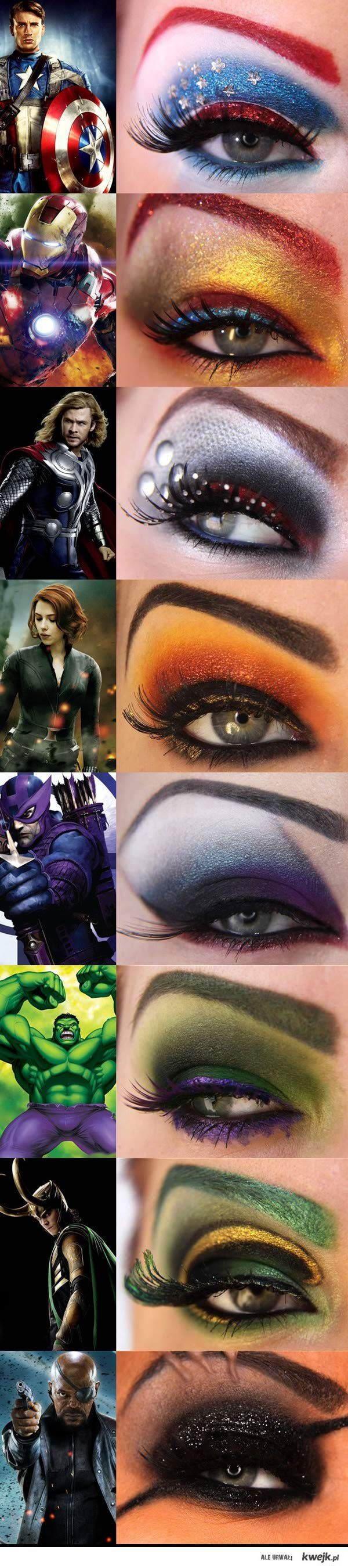 the avengers makeup...just too cool...wonder what Wonder Woman make up would look like... I like the 3rd one!!!