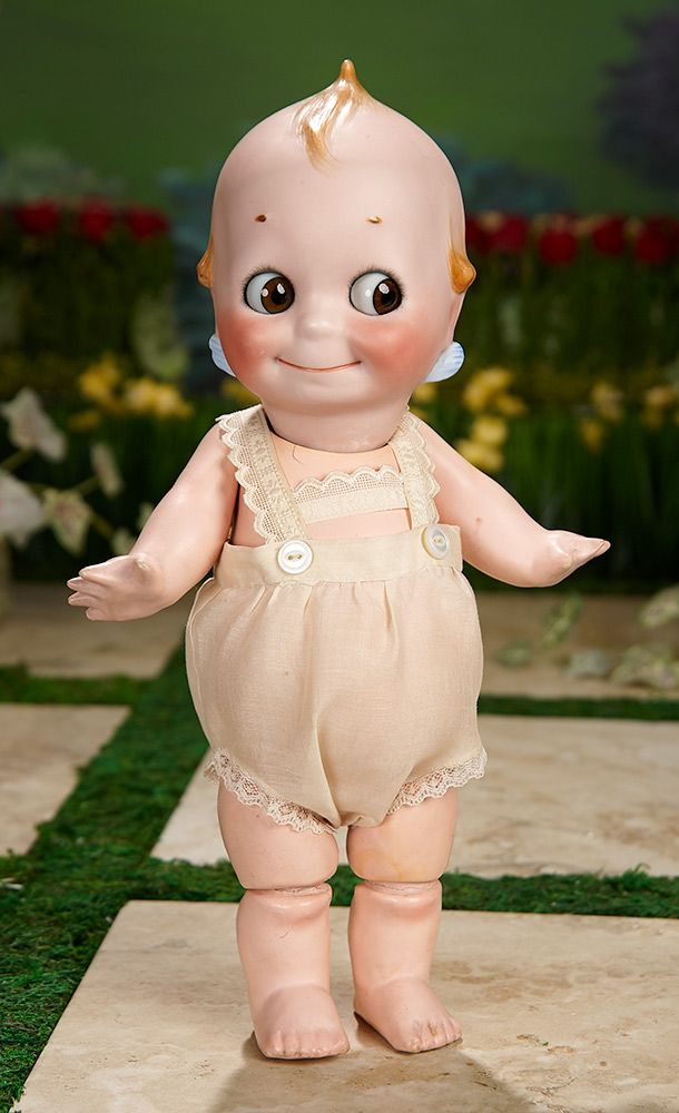 """""""I Only Wanted to Wonder"""" - August 1, 2017: 114 German Bisque Kewpie by Kestner with Glass Eyes, Original Body, in Rare Size 12"""