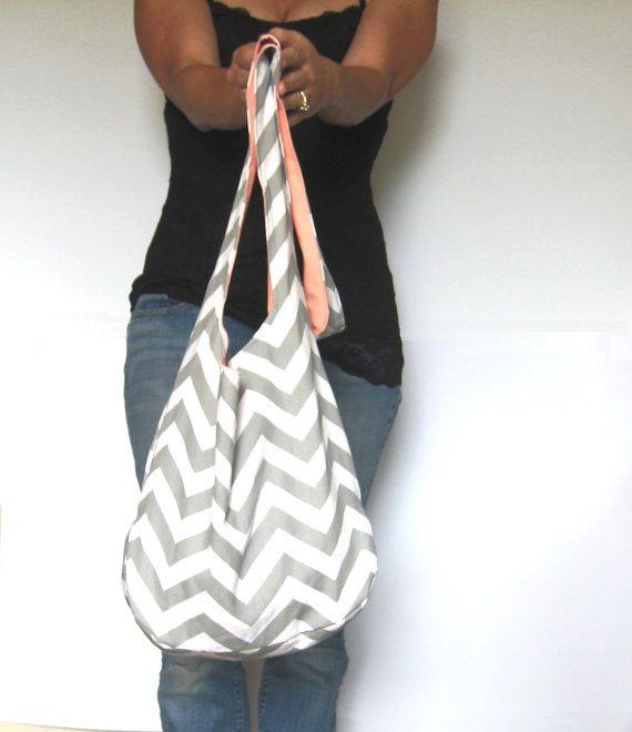 Cross Body Hobo Bag Chevron Purse Gray and by SmiLeaGainCreations, $40.00
