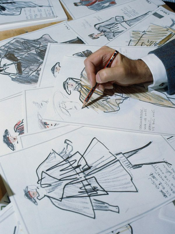 Karl Lagerfeld sketches for Chloe.