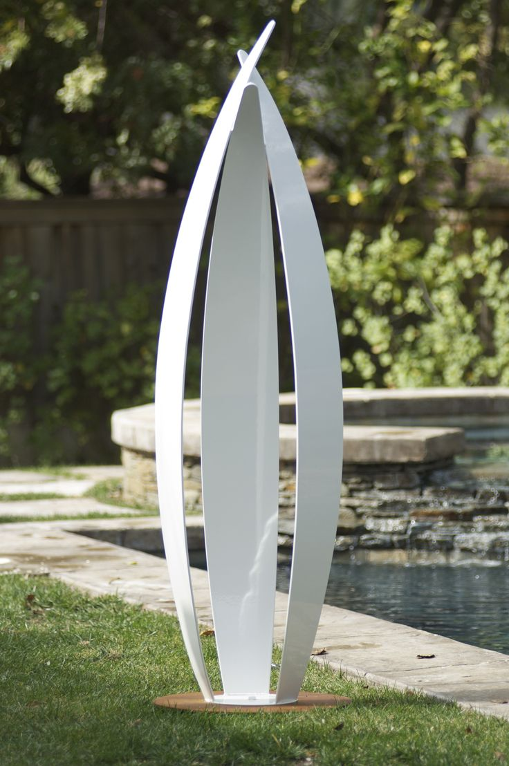 contemporary abstract white powdercoat steel sculpture with weathered steel base for modern gardens and contemporary landscapes