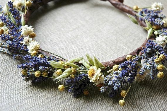 Lavender and Daisies Bridal Flower Crown Dried Lavender and Dried Flowers for Brides, Bridesmaids, Flowergirls